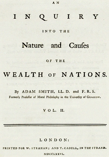 Cover of the classic book by Adam Smith: Wealth of Nations.